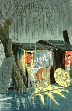Tomikichiro Tokuriki's night street scene, Japan Japanese Art Prints, Japanese Artwork, Japanese Painting, Chinese Painting, Japon Illustration, Japanese Illustration, Botanical Illustration, Japanese Woodcut, Art Asiatique