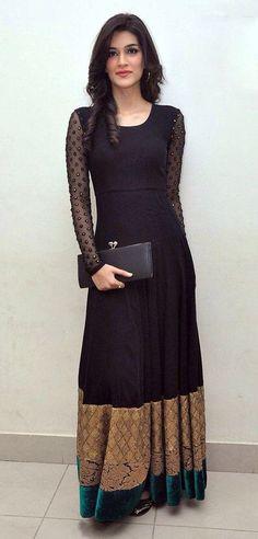 Kriti Sanon Black Net Long Gown 36187 - Fashion Show Indian Gowns, Indian Attire, Pakistani Outfits, Indian Outfits, Desi Clothes, Indian Clothes, Anarkali Dress, Gown Dress, Lace Dress Black