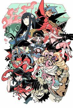 Kill la Kill and Tengen Toppa Gurren Lagann Artist:? Manga Art, Anime Art, Lagann Gurren, Kill A Kill, Gurren Laggan, Character Art, Character Design, Sailor Moon, Tomb Raider Cosplay