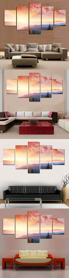5 Pcs Unframed Plane Seacape Beach Sunset Canvas Print Painting Wall Art Picture Home Decoration Living Room Canvas Painting $41.65