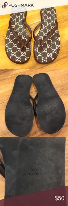 Gucci rubber thong sandal Authentic Gucci rubber flip flops...worn only a few times in great condition-do not have box Gucci Shoes Sandals