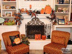 Halloween Mantel Decorations- #diy #halloween mantel garland. Love this! Orange, Black and white with polka dots