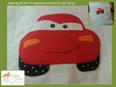 Aplicação em tecido de fralda para paninho de boca - carros - Além Brasil