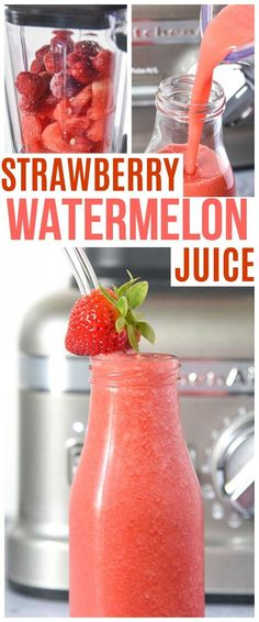 This Strawberry Watermelon juice is made with a high speed blender in less than 3 minutes! Raw delicious and nutritious juice drink recipe. via @KnowYourProduce