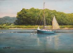 Ketch at Anchor - 9 x 12 $350. Original oil painting by Sandra Nardone Stop by my booth #40 to see more!