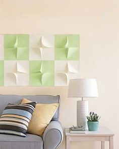 Perk up a bare wall with lightweight two-dimensional tiles. They're easily removed when you want a change.