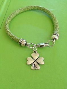 Initial K Four Leaf Clover and Leather Bracelet by joytoyou41, $25.00