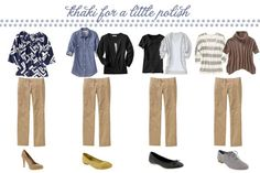 no brainer wardrobe :: day 15 more outfits - The Tiny Twig Beige Pants Outfit, Khaki Pants Outfit, Khaki Skirt, Casual Outfits, Cute Outfits, Fashion Outfits, Work Outfits, Work Fashion, Curvy Fashion
