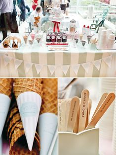 Vintage Ice Cream Parlor {Engagement Party} // Hostess with the … Vintage Ice Cream Parlor {Engagement Party} with waffle cone sleeves, monogrammed printables, glass cone cups, labeled syrup bottles & custom wooden spoons. Ice Cream Wedding, Diy Ice Cream, Ice Cream Parlor, Whipped Cream, Bar Sundae, Glace Diy, Ice Cream Station, Wedding Reception Layout, Wedding Ideas