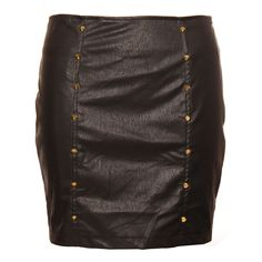 Hearts & Bows Mint Studded Leather Look Skirt main image