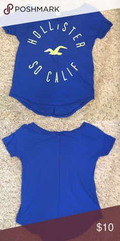 Hollister top Blue hollister top with green letters. In perfect condition. Open to offers! Tops Tees - Short Sleeve