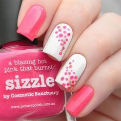 60 Stylish Nail Designs for Nail art is another huge fashion trend besides the stylish hairstyle, clothes and elegant makeup for women. Nowadays, there are many ways to have beautiful nails with bright colors, different patterns and styles. Dot Nail Art, Pink Nail Art, Polka Dot Nails, Polka Dots, Stylish Nails, Trendy Nails, Dot Nail Designs, Nails Design, Cute Pink Nails