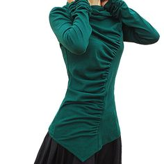 Slimming Green Pleated Shirt