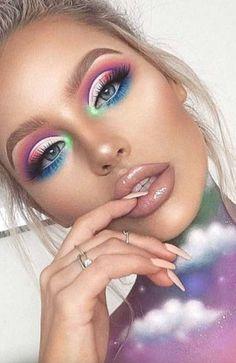 Unique Makeup, Creative Makeup Looks, Colorful Eye Makeup, Cute Makeup, Gorgeous Makeup, Pretty Makeup, Sleek Makeup, Colorful Eyeshadow, Romantic Makeup