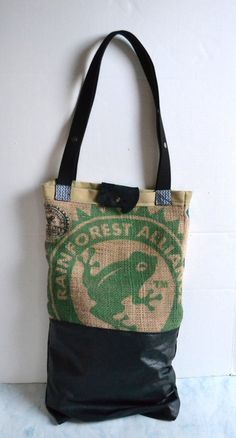 Burlap and Leather Tote Bag  Coffee Burlap Tote  by Liquidshiva, $82.00
