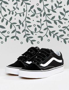 Tendance Chausseurs Femme 2017 Women Teen ASOS Vans Old Skool Velcro Sneakers In Black And White