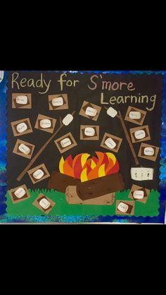 Campfire S'mores bulletin board Campfire S'mores bulletin bul … - Preschool-Kindergarten Camping Bulletin Boards, Summer Bulletin Boards, Preschool Bulletin Boards, Preschool Classroom, Classroom Themes, Classroom Door, Camping Theme For Classroom, Kindergarten, Seasonal Classrooms