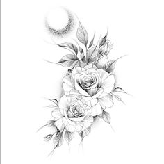 If you are interested you can ask - Tattoos - Tatuagens Ideias Rose Tattoos, Flower Tattoos, Body Art Tattoos, Sleeve Tattoos, Floral Tattoo Design, Flower Tattoo Designs, Tattoo Designs For Women, Tattoo Sketches, Tattoo Drawings