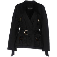 Balmain Overcoat (12.691.050 IDR) ❤ liked on Polyvore featuring outerwear, coats, black, over coat, cotton coat, balmain, safari coat and single-breasted trench coats