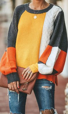 Round Neckline Color Block Loose Shift, Sweaters - Orange / S Batwing Sleeve, Long Sleeve Sweater, Tokyo Street Fashion, Style Grunge, Soft Grunge, Sweater Sale, Knit Sweaters, Lace Party Dresses, Grey Yellow
