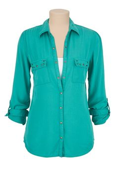 Stud Pocket Button Down Shirt (original price, $34) available at #Maurices