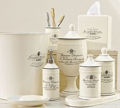 need to find a DIY for a knockoff of this.. perhaps graphics fairy?  Black & White Apothecary Bath Accessories | Pottery Barn