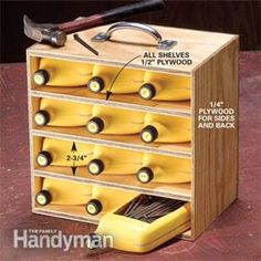 Rinse and cut empty oil jugs to store nails, screws, etc. Build a tote to hold the containers.