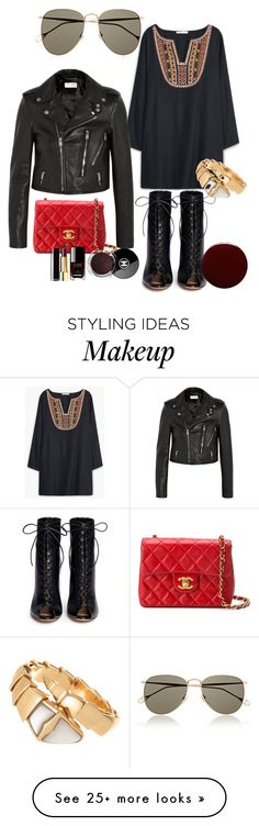 """Untitled #107"" by pillespirit on Polyvore featuring Gucci, MANGO, Gianvito Rossi, Yves Saint Laurent, Chanel, Lauren B. Beauty and Bulgari"