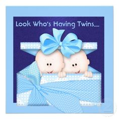 BOYS TWINS BABY SHOWER  INVITATION