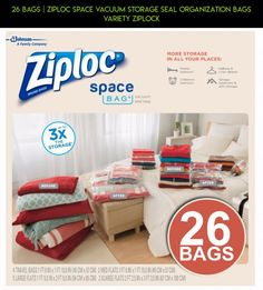 26 BAGS | Ziploc Space Vacuum Storage Seal Organization Bags Variety Ziplock #technology #parts #storage #racing #camera #fpv #plans #drone #tech #shopping #gadgets #kit #ziplock #bags #products #vacuum
