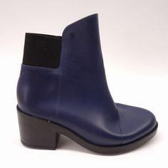 66e8071906c0 New Melissa Womens Elastic Collar Navy Blue PVC Block Heel Ankle Boots Size  7  Melissa