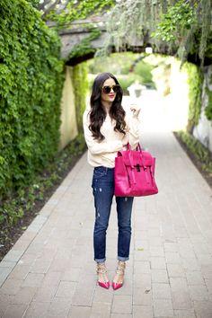 5.13 pink lady (Theory blouse + Paige Denim jeans + Valentino pumps + Phillip Lim bag + Karen Walker sunnies + Nadri earrings + YSL 'rouge volupte #11' lipstick)