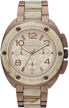 Love! Michael Kors Watch, Women's Chronograph Espresso Tone Stainless Steel and Horn Acetate Bracelet 43mm MK5594