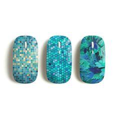 Mint wireless mouse mosaic hexagon floral by Darkoolart on Etsy