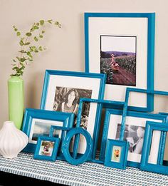 Perk Up Picture Frames  http://www.lhj.com/style/decorating/easy/weekend-decorating-projects/?page=9