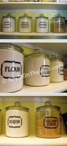 @Brittany Turner...more cricut fun for you! Vinyl letters for organizing the kitchen.  I want these canisters!
