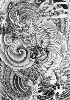 Scifi And Fantasy Art Dragon Tiger Design , Dragon And Tiger Tattoo Dragon Tiger Tattoo, Tiger Tattoo Sleeve, Tiger Dragon, Japanese Dragon Tattoos, Back Tattoo, Sleeve Tattoos, Tattoo Thigh, Henna Tattoos, Tattoo Ink