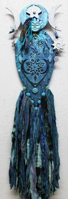Blue Moon Goddess, Pagan Moon Goddess, Selena, mixed media art doll, wood art doll, Polymer clay goddess