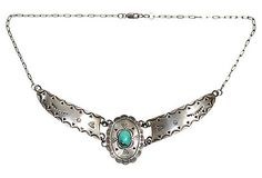 Navajo Sterling Silver & Turquoise Panel Necklace – Yourgreatfinds