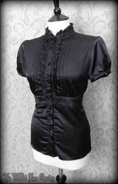 Elegant Goth Black Satin High Collar Frilled Top 14 Steampunk Victorian Gothic | THE WILTED ROSE GARDEN