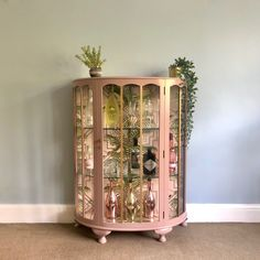 Vintage Glass Drinks Cabinet, Hand Painted In Damask Pink & Gold, Decoupaged Art Dec. Upcycled Vintage Glass Drinks Cabinet, Hand Painted In Damask Pink & Gold, Decoupaged Art Deco Geometric Tropical Cocktail Display Cabinet Art Deco Furniture, Funky Furniture, Refurbished Furniture, Upcycled Furniture, Furniture Makeover, Vintage Furniture, Furniture Ideas, Barbie Furniture, Furniture Design