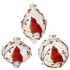 """RAZ Imports - Graphic Woodland - 4"""" Snowy Cardinal Christmas Tree Ornaments - Set of 3 - Made of Glass - 3 Assorted - Measures 4"""" - RAZ Imports 2015 Theme: Graphic Woodland"""