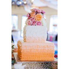 Today's ruffle ombré frills cake is layer upon layer of deliciousness.  #cake #orange #Disney #wedding