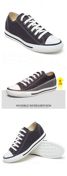 Classic Style Men Casual Canvas Solid Grey Look Taller 6CM Sport Elevator  Shoes cdf25d405484