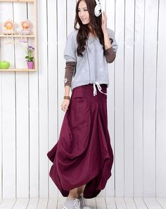 Maxi Linen skirts 145 by YL1dress on Etsy