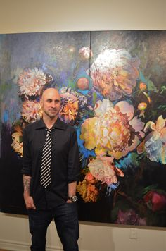 Artist Stev'nn Hall with is work FALLEN GRACE No. 2. There is still time to see LUCID at Muse Gallery. On until May 19th.
