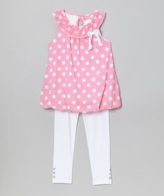 Love this Pink Polka Dot Yoke Tunic & Leggings - Infant, Toddler & Girls by Diva on #zulily! #zulilyfinds