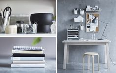 Collage de fotos con ideas para organizar la habitación de la residencia…