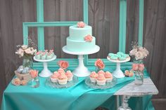 Turquoise/Peach dessert table. Absolutely love this color combination.