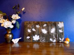 Rustic White Leaves Pallet Art by wenderfuldesigns on Etsy
